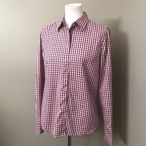 Robert Graham Purple/pink gingham plaid top Size L